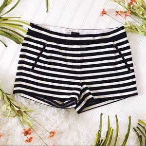 J. Crew Textured Striped Shorts Navy & White